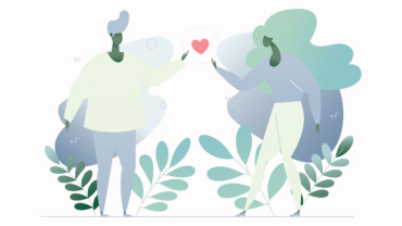 Artwork depicting a man and woman holding a heart.