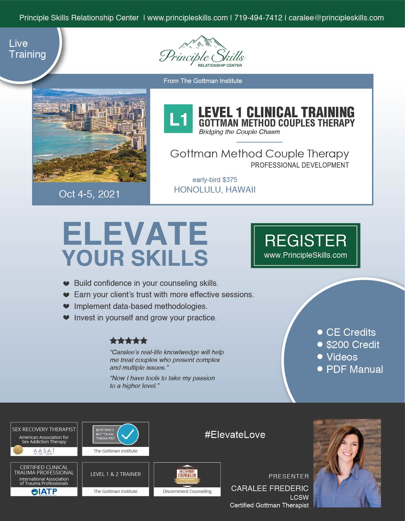 Flier for Oct 2021 Gottman Level 1 | Hawaii