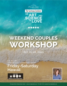 Flier for Oct 2021 Gottman marriage retreat and couples workshop | Hawaii